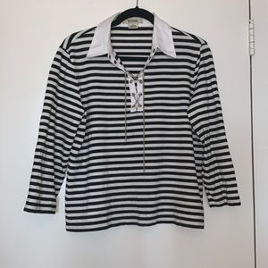 Michael Michael Kors Black and White Striped Shirt
